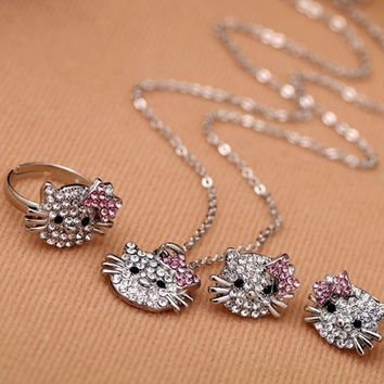 Shop Crazy Cats Crystal Silver Plated Women Cat Jewelry Sets - Free Shipping