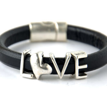 SALE % 30 Off!-Silver Heart and Love Spacer Regaliz Black Greek Leather Bracelet