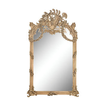 Renaissance Scroll Mirror In Russian Oak Russian Oak