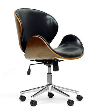 Baxton Studio Bruce Walnut and Black Modern Office Chair Set of 1