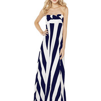 Dark Blue Striped Strapless Maxi Dress