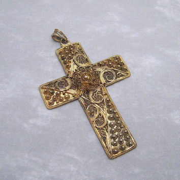 Sterling Vintage Cross Pendant Vermeil Cannetille Filigree Van Lou Jewelry P5984