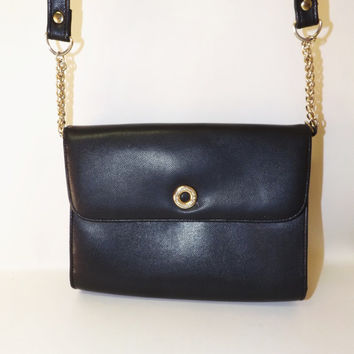 VINTAGE 80s 90s Liz Claiborne Black Textured Leather Handbag Purse Gold Bag Satchel Regal Hollywood Recency Goldtone Chain Glam Rock