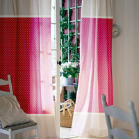 Window curtains / Nursey curtains / Kids curtains / Pink and white polka dot and stripes curtains / Select size / Tab tops or Clips
