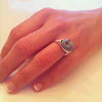 Turquoise skull silver plated wire wrap ring by miskwill on Etsy