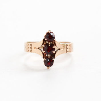 Antique Victorian 10k Rose Gold Triple Garnet Ring - Vintage Late 1800s Size 5 Triple Red Gemstone Fine Jewelry Hallmarked M.B. Bryant & Co