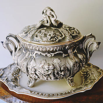 Large Soup Tureen, Platter, Candlesticks, Jose Elias Alcobaca Portugal, Vintage Table Setting