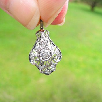 Edwardian to Art Deco Diamond Pendant, Old European Cut Diamond, Elegant Filigree in 14K White Gold, Stunning Piece, Circa 1915 to 1920