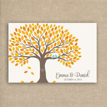 Guest Book Tree - Guest Book Alternative for 150 Guest Signatures - Fall Wedding Guestbook