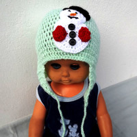 Crochet  beanie with snowman, Baby snowman hat, snowman applique hat, Newborn snowman beanie, Stripes hat Baby gift, MADE TO ORDER