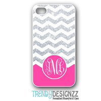 Personalized iPhone case, iPhone 4 4s case, iPhone 5 case, Chevron Glitter Case, Personalized Cover, Pink (NOT REAL GLITTER) (1200)
