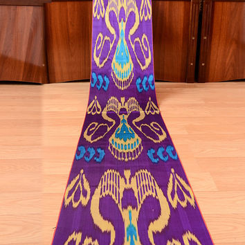 satin ikat, ikat, table runner, fabric by the yard, ikat fabric, violet, blue, design, interior, home decor, curtians, dress, handwoven