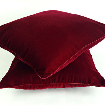 Velvet Pillow, Burgundy pillow, Plush Dorm Throw Pillow, Wine Red Pillow, Maroon Luxury Pillow Sham, Decorative Pillow, Designer Pillow