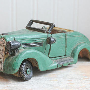 1940s Vintage Hand Carved Royles Royce, Wooden Wood Car, Vintage Folk Art Collectible Toy, American  Primitive, Gift for Him, Men Man Gifts