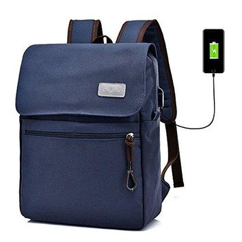 Canvas Backpack Laptop Backpack Hiking Rucksack Middle Student Backpack with USB Charging Port Big Capacity 36~55 L Casual Zipper Backpack