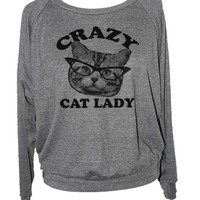 Skip N' Whistle Women's Crazy Cat Lady Raglan Sweatshirt Large Grey