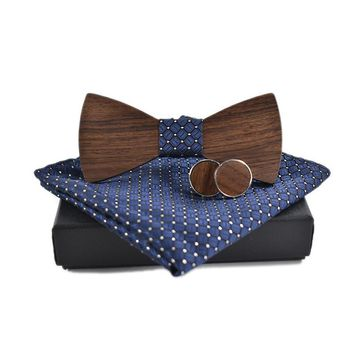 Cuff Links, Handkerchief, Wooden Bow Tie Set