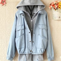 HOODED VEST FLEECE LOOSE COWBOY COAT TWO-PIECE OUTFIT -DS