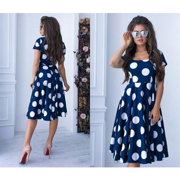 Summer New Fashion Lady Bohemian Dot Printed A-line Party Dress O-Neck Elegant Female Chic Women Prom Vintage Vestidos