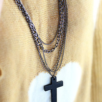 Multi Chain Black Cross Necklace