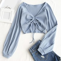 Wipalo Women Sexy V-Neck Crop Tops Shirts Summer Gathered Textured Knitted Blouses Long Sleeve croptops Cotton Blusas Tank tops