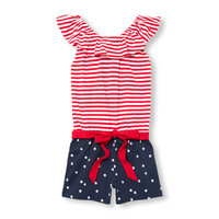 Girls Americana Sleeveless Printed Off-Shoulder Belted Romper | The Children's Place
