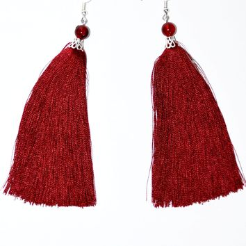 Ukrainian hand-made tassel earrings. Maroon