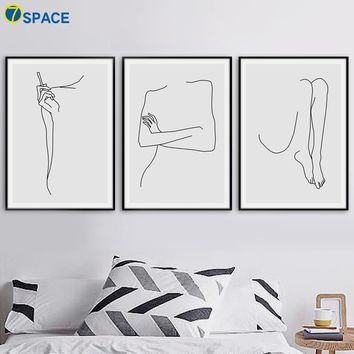 Geometric Curve Body Wall Art Canvas Painting Nordic Posters And Prints Canvas Art Abstract Wall Pictures For Bedroom Home Decor