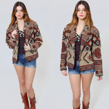 Vintage 80s SOUTHWESTERN Jacket TRIBAL Boho Cotton Crop Jacket Festival Jacket