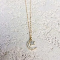 N&K Designs - Crescent Moon And Star Necklace | ShopMiamiStyle