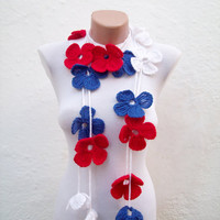 Hand crochet Lariat Scarf  Red Blue White Flower Lariat Scarf Long Necklace Holiday Accessories