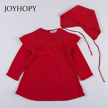 JOYHOPY Quality Knitted Girls Long Sleeve Dress 2017 Winter Autumn White Red Baby Girl Princess Dress with Hats