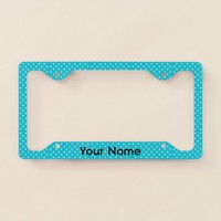 Turquoise and White Polka Dot Pattern Your Name License Plate Frame