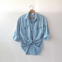 vintage washed out shirt. faded denim shirt. button down shirt. oversized pocket shirt.