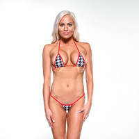 Black and White Houndstooth Sexy Micro G String Bikini 2pc Small Triangle Top Mini Thong Minimal Coverage Exotic Swimsuit Swimwear with Red