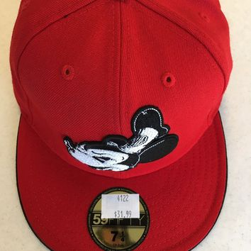 CUSTOM MICKEY MOUSE RED RETRO NEW ERA 5950 FLAT BRIM FITTED HAT