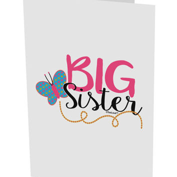 "Big Sister 10 Pack of 5x7"" Side Fold Blank Greeting Cards"
