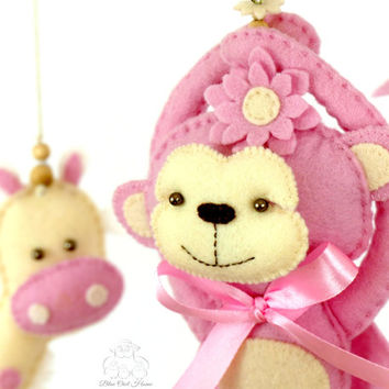 Baby Mobile  Cot mobile Giraffe baby room decor Newborn plush toy  Swarovski bead mobile  Newborn gift Pink Monkey Jungle mobile