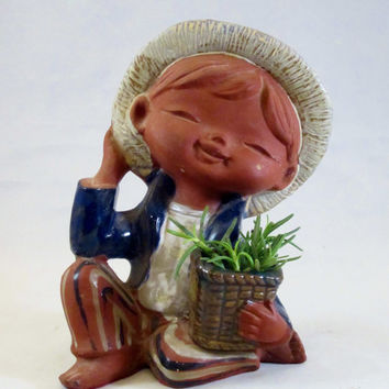 Vintage Planter Statue Figurine Pottery CHILD with HAT 1960s