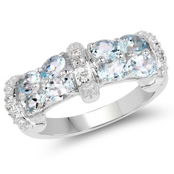 1.56 Carat Genuine Aquamarine & White Sapphire .925 Sterling Silver Ring