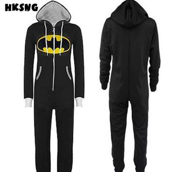 HKSNG High Quality New Batman Superman Kigurumi Adult Onesuit Pajamas Plus Size Hooded Sleepsuit Sleepwear Cosplay For Party
