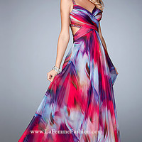 Long Multi Color Chiffon Open Back La Femme Prom Dress