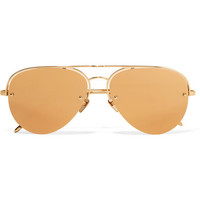 Linda Farrow - Aviator-style gold-tone mirrored sunglasses
