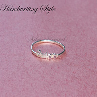 Bridesmaids Gift - Adjustable Ring - Name Ring  - Sterling Silver