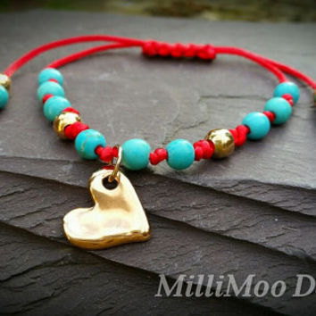 Pretty Semi Precious Boho friendship Bracelet With Natural Turquoise Gemstones and Rose Gold Plated Heart Charm and Beads