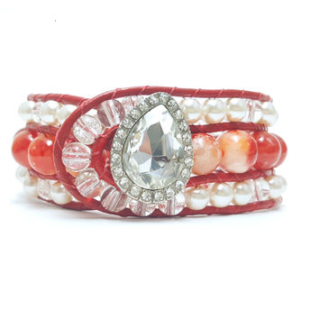 Leather Wrap Red Agate Beaded Cuff Bracelet