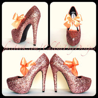 Coral Crush Glitter High Heels