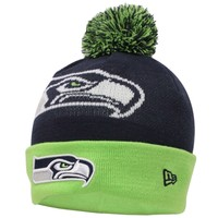 Mens Seattle Seahawks New Era Navy Blue Woven Biggie 2 Knit Hat