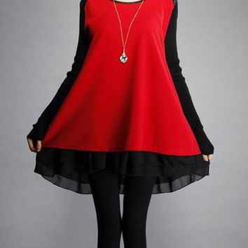 Red Long Sleeve Chiffon Dress