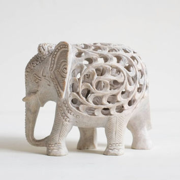 Hand Carved Soapstone Jali Lucky Elephant Figurine with Baby Inside